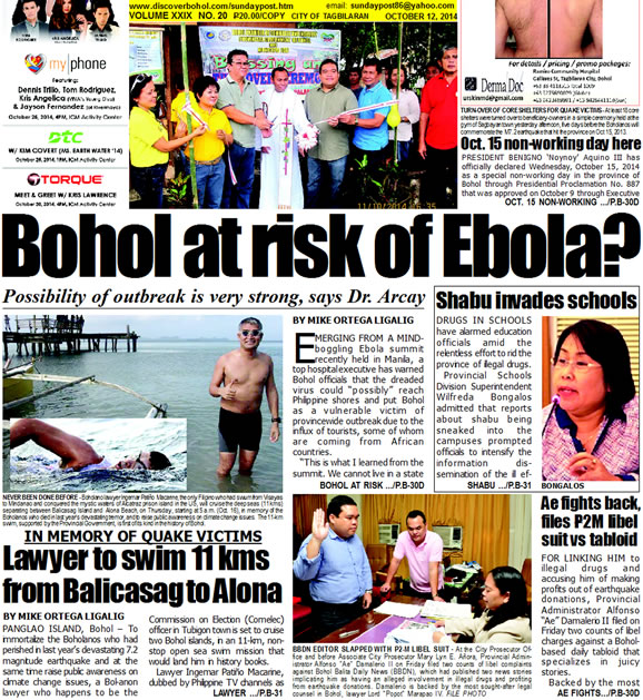 Bohol Sunday Post - Bohol Newspaper - Bohol news online - Bohol online news - Bohol latest news - Bohol news update - Bohol breaking news - What's happening in Bohol, Bohol earthquake